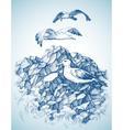 Seagulls over rocky sea shore etch label design vector image vector image