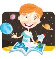 small boy with story book vector image