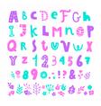 Bright cartoon font vector image