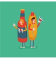 People wearing hot dog and bottle costume Fast vector image