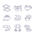 Seafood Icons Thin Line Style Flat Design vector image