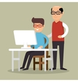 senior man trains boy working laptop vector image