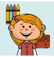 girl student colors school baggage vector image
