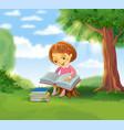 cute girl reading book vector image