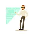 businessman wearing vr headset working in digital vector image