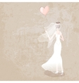bride in wedding dress with balloon vector image