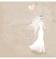 bride in wedding dress with balloon vector image
