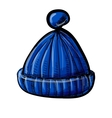 Knitted blue cap isolated on white vector image vector image