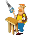 Carpenter with saw vector image