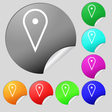 map poiner icon sign Set of eight multi colored vector image