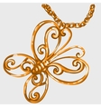 Golden butterfly pendant on a chain vector image