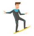 Smiling Surfer Man on Surfboard vector image