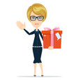 business woman holding a present vector image