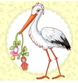 Card with stork and pacifier for girl vector image