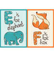 Children Alphabet with Funny Animals Elephant and vector image
