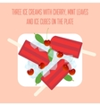 Icecreams popsicles with cherry mint and ice vector image