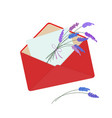 letter in red envelope with bouquet of lavender vector image