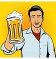 Man offers beer cup pop art style vector image