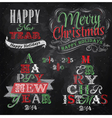 Set Merry Christmas Happy chalk color vector image