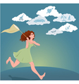 Young woman pursuing her dreams vector image