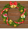 Christmas Wreath on Wooden Board 4 vector image