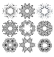 Set of black circle ornament patterns vector image