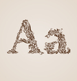Decorated letter A vector image