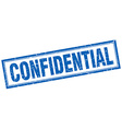 confidential blue square grunge stamp on white vector image