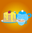 a teapot with a cup and sweet pancakes vector image