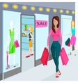 Girls with bags for shopping Shops in the vector image