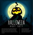 halloween creepy grave yard banner flyer template vector image
