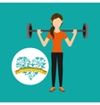 heart weight loss sport person dumbbell vector image