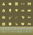 Money color icons on green background vector image