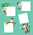 Monkey With Blank Sign Set vector image