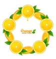 Orange juicy slices with leaves round frame vector image