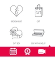 Broken heart gift box and wedding jewelry icons vector image