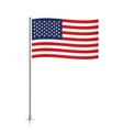 USA flag waving on a metallic pole vector image