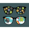 Retro sunglasses with monster sky reflection vector image