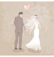 bride and groom with balloon vector image