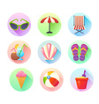 Flat trendy summer colorful icons set vector image