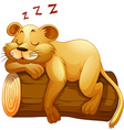 Little lion cup sleeping on the log vector image