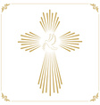 Cross with the dove Church emblem template design vector image