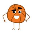 cute basketball ball cartoon character vector image