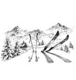 Holidays at ski background mountains panorama in vector image