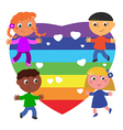 Peace heart flag and friends vector image
