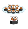 Set of cartoon sushi cons vector image