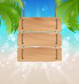 Wooden signboard on tropical beach vector image