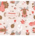 Seamless Valentines pattern with fun animals vector image