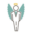 graphic man in costume and with angel wings and vector image