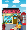 A lady going to the flowershop vector image